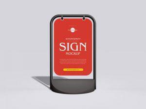 Advertisement Pavement Sign Free PSD Mockup
