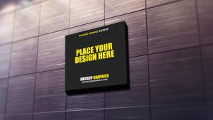Building Square Signage Free Mockup