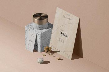Cosmetic Cream Jar & Flyer, Card Free PSD Mockups