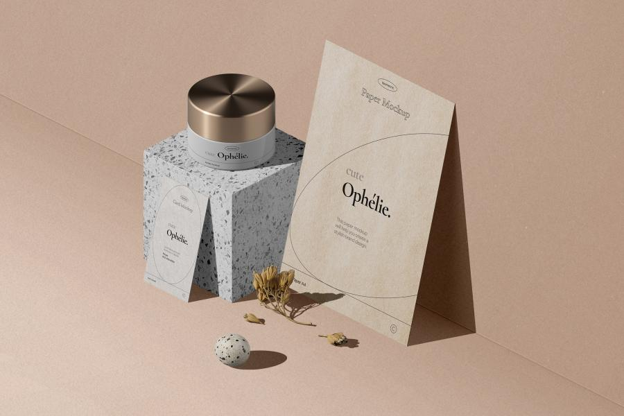 Cosmetic Cream Jar & Flyer, Card Free PSD Mockups