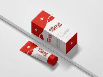 Cosmetic Tube & Box Free PSD Mockup