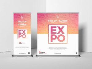 Expo Roll-Up Stand Banner Free PSD Mockup