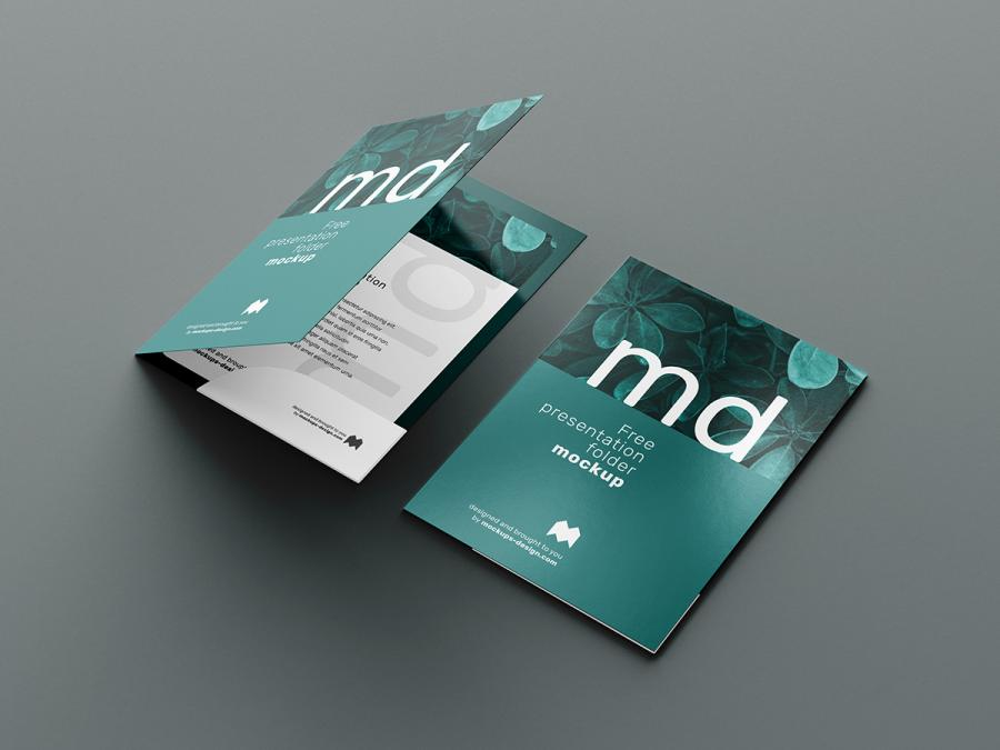 Free Front Cover and Open Folder Mockup