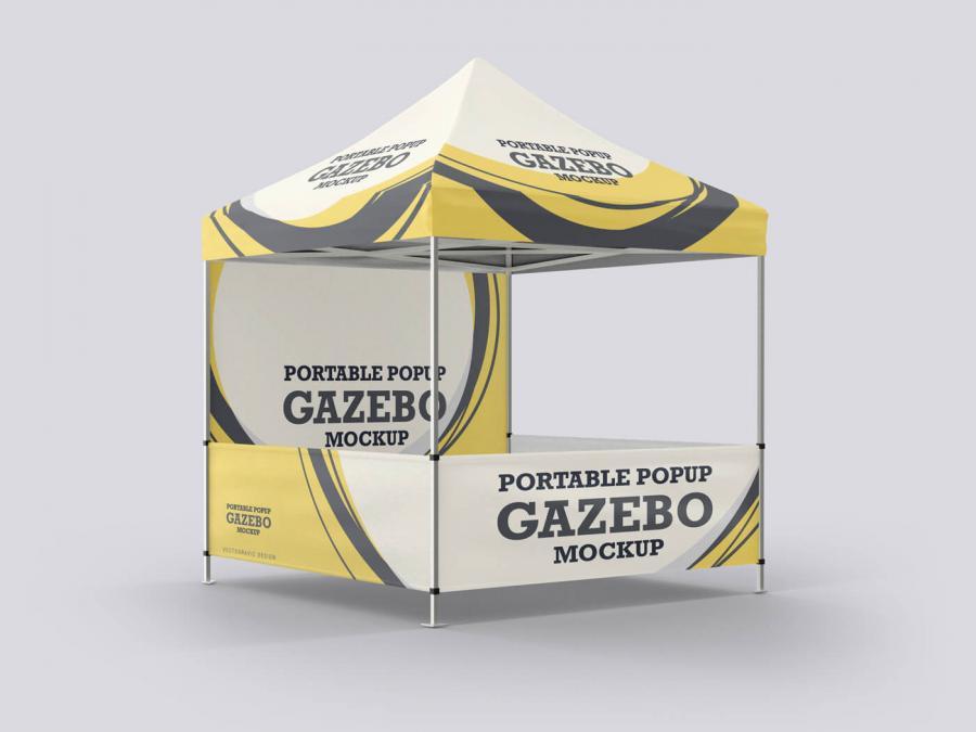 Free Portable Popup Gazebo Mockup (PSD)