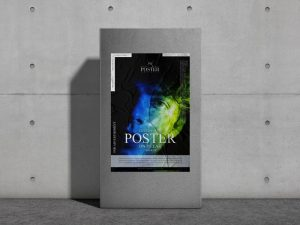Glued Paper Poster on Pillar Free Mockup