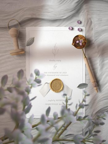 Invitation Card & Stamp Free PSD Mockup