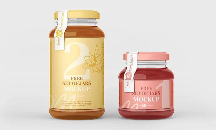 Jar Glass Set Free PSD Mockup