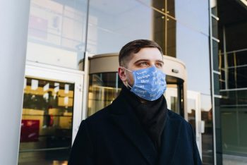 Man Wearing Face Mask Free PSD Mockup