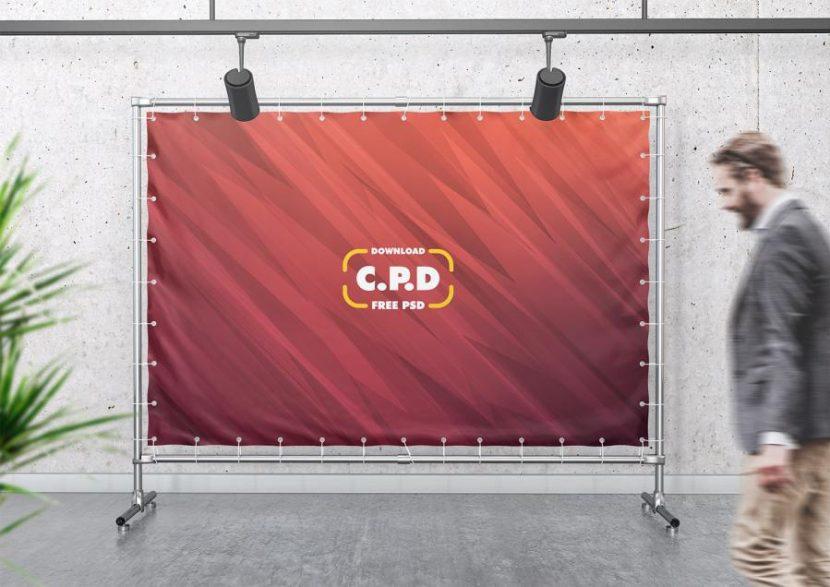 Press Wall Advertising Free PSD Mockup