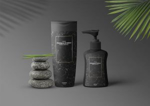 Shampoo & Lotion Bottles Free PSD Mockup