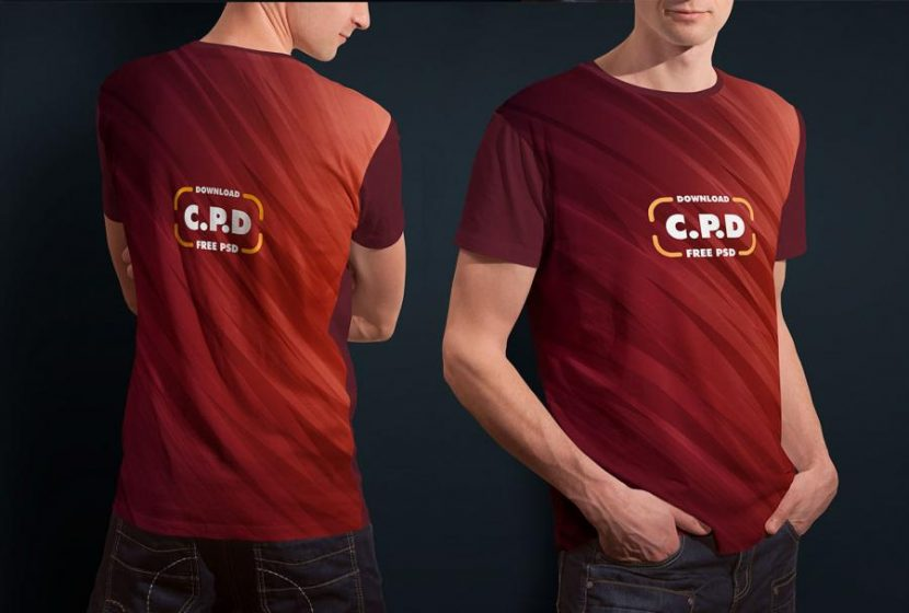 T-Shirt Front and Back Free Mockup