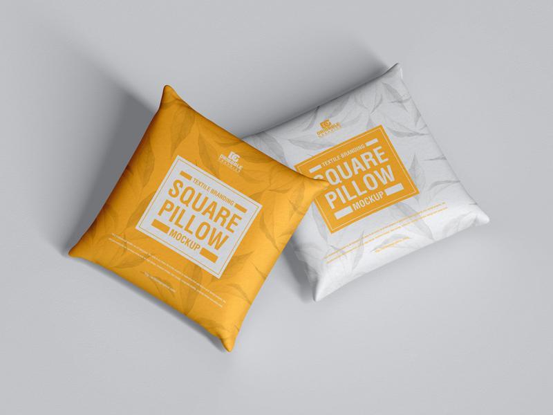 Textile Branding Square Pillow Free Mockup
