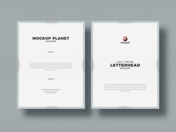Top View Letter Size Letterhead Free PSD Mockup