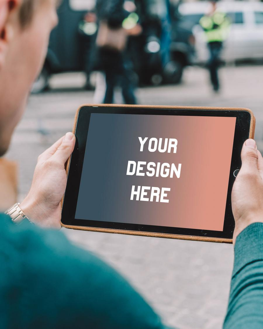 iPad in Hands Free PSD Mockup