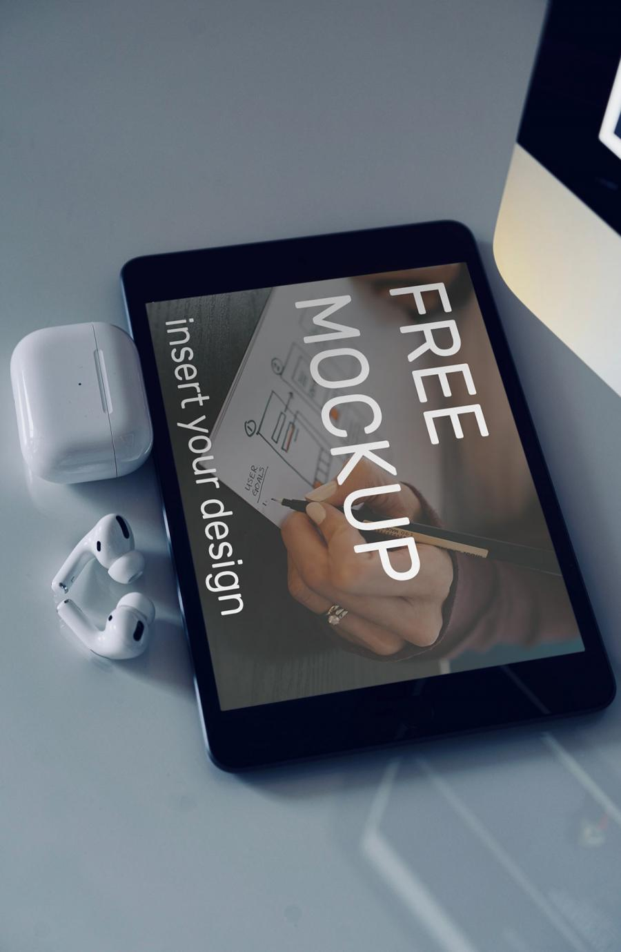 iPad with Airpods Free PSD Mockup
