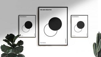 3 Free Minimal Poster Mockup
