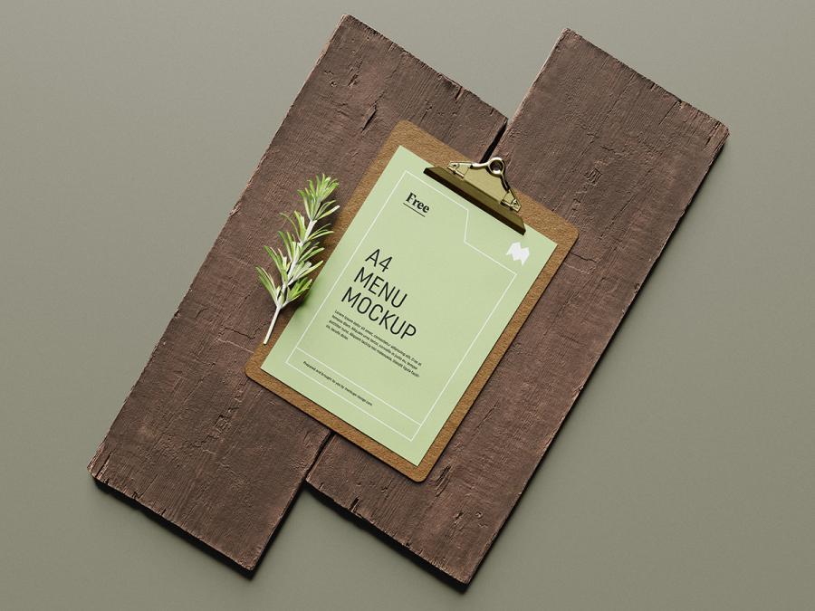 A4 Menu on Wood Board Free Mockup