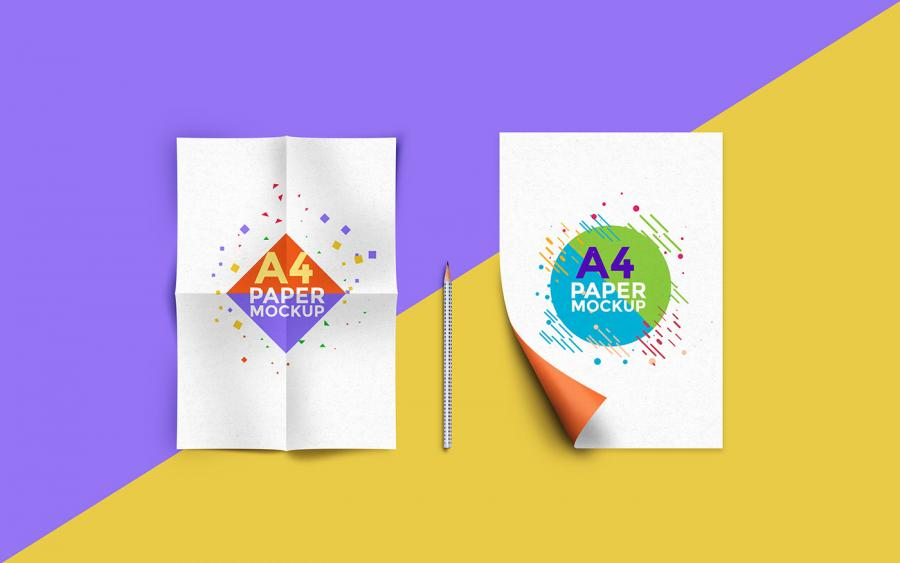 A4 Size Poster Mockup Set Free PSD Template