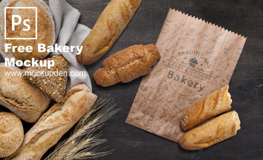 Bakery Paper Bag Free (PSD) Mockup