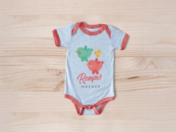 Clean Newborn Baby Romper Bodysuit Free Mockup