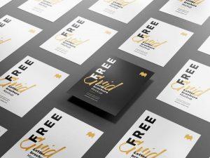 Free Grid Flyer Paper Mockup (PSD)