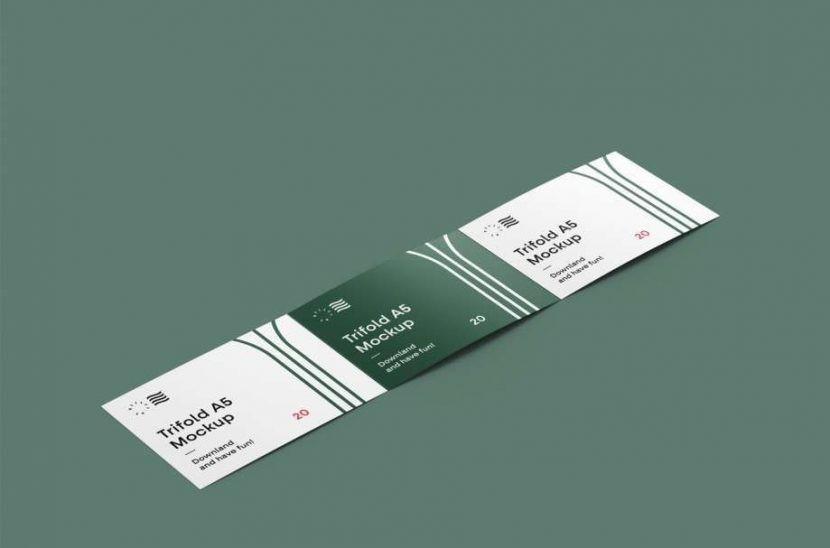 Free Horizontal Open Tri-Fold Brochure Mockup
