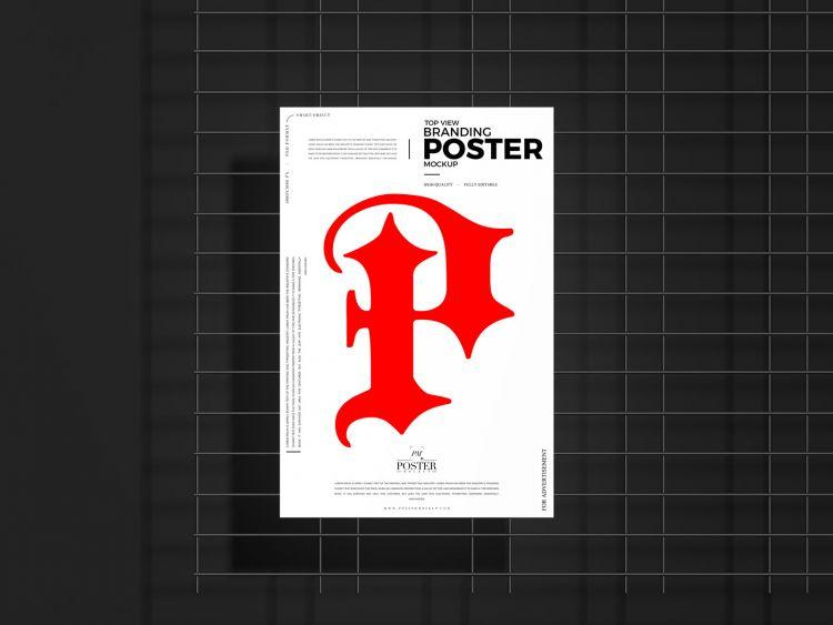 Free Top View Poster (PSD) Mockup