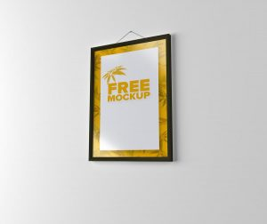 Free Wall Hanging Photo Frame Mockup