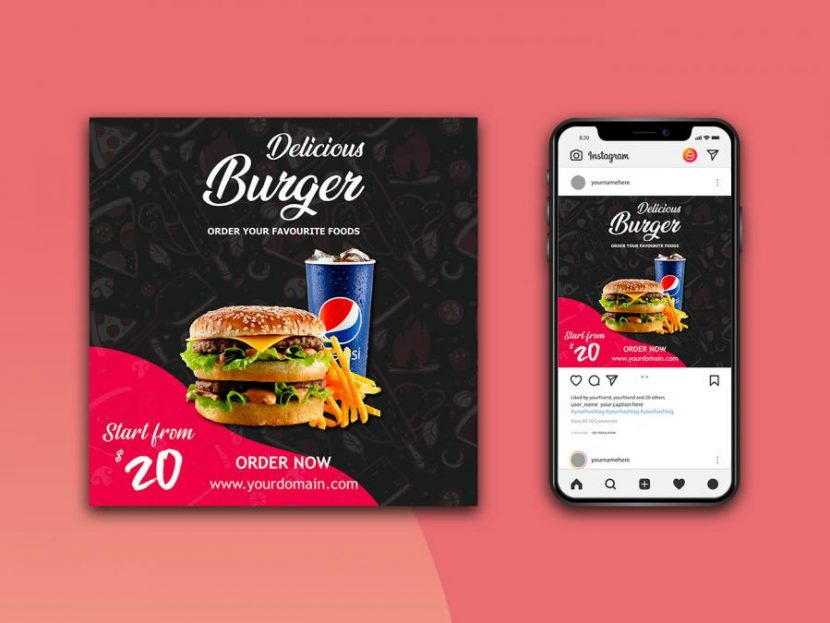 Instagram Post Mockup Free (PSD) Template