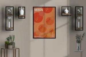 Interior Room Wall Poster Free (PSD) Mockup