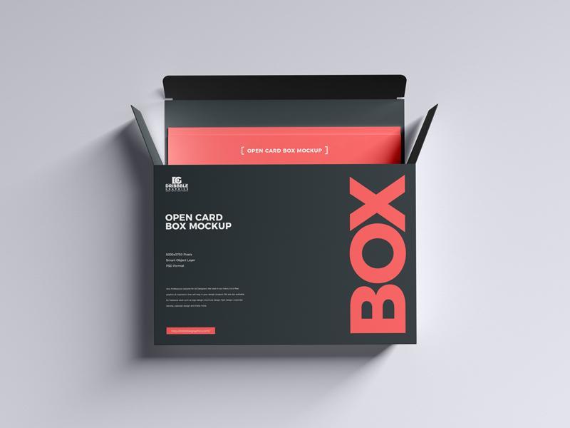 Open Card Box Free PSD Mockup