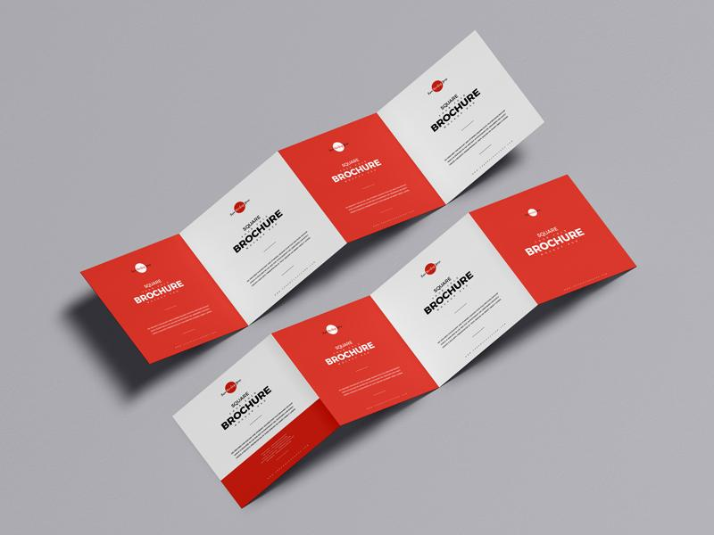 Square Four Fold Brochure Free (PSD) Mockup
