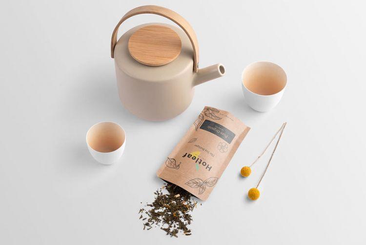 Tea Branding Design Free PSD Mockup