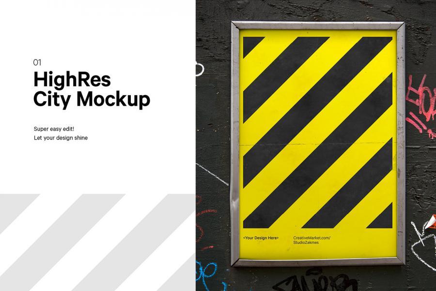 Urban City Poster Free PSD Mockup