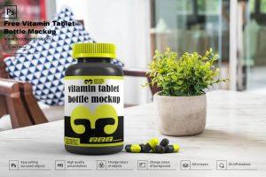 Vitamin Tablet Bottle Free (PSD) Mockup Template