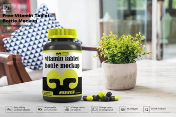 Vitamin Tablet Bottle Free (PSD) Mockup Template