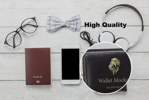 Wallet on Table Free (PSD) Mockup