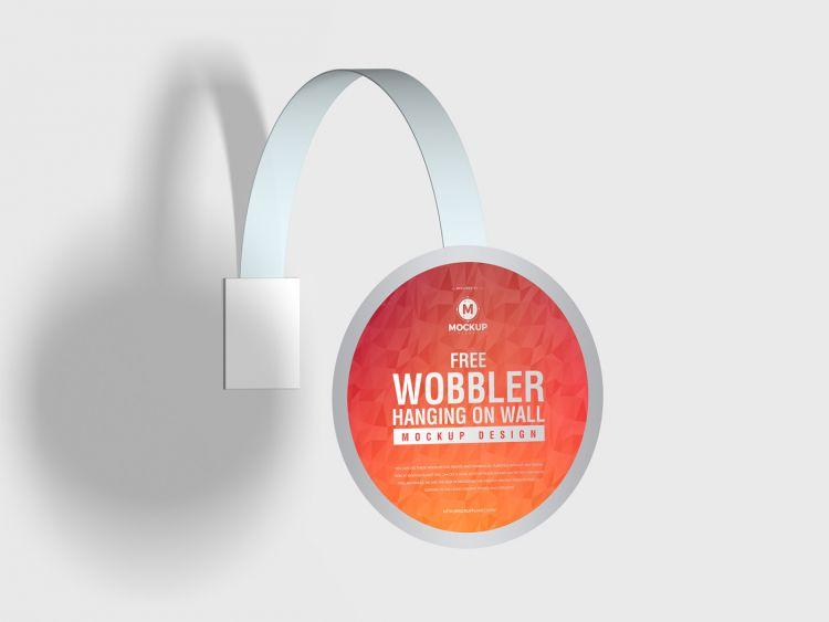 Wobbler Hanging on Wall Free (PSD) Mockup