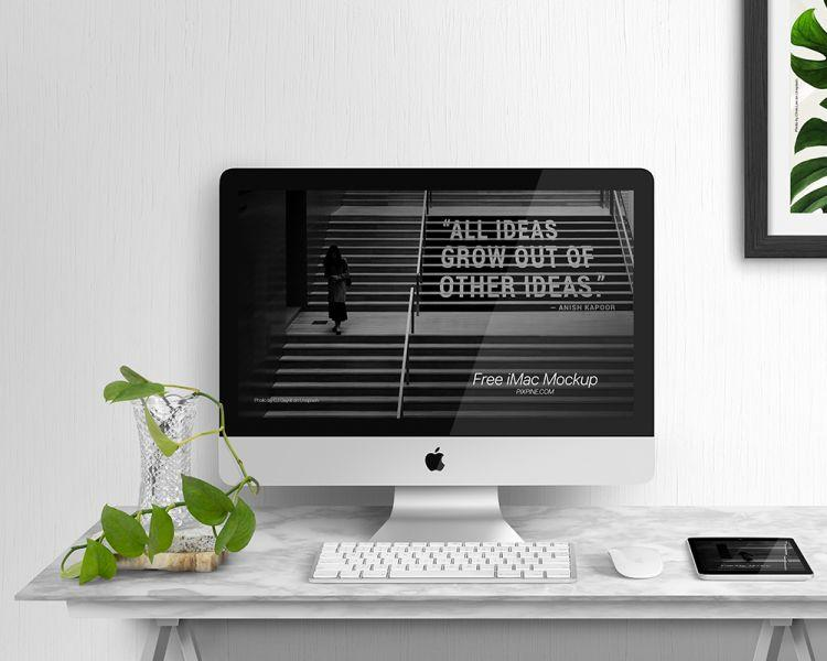 iMac Display Free (PSD) Mockup