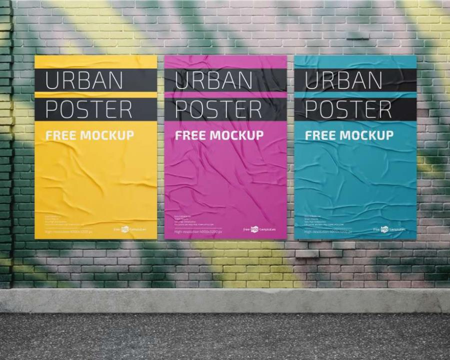 3 Urban Posters in Wall Free Mockups