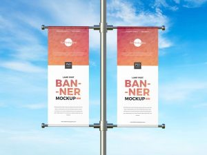 Advertising Lamp Post Banner Free Mockup