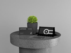 Business Card On Stone Table Free Mockup