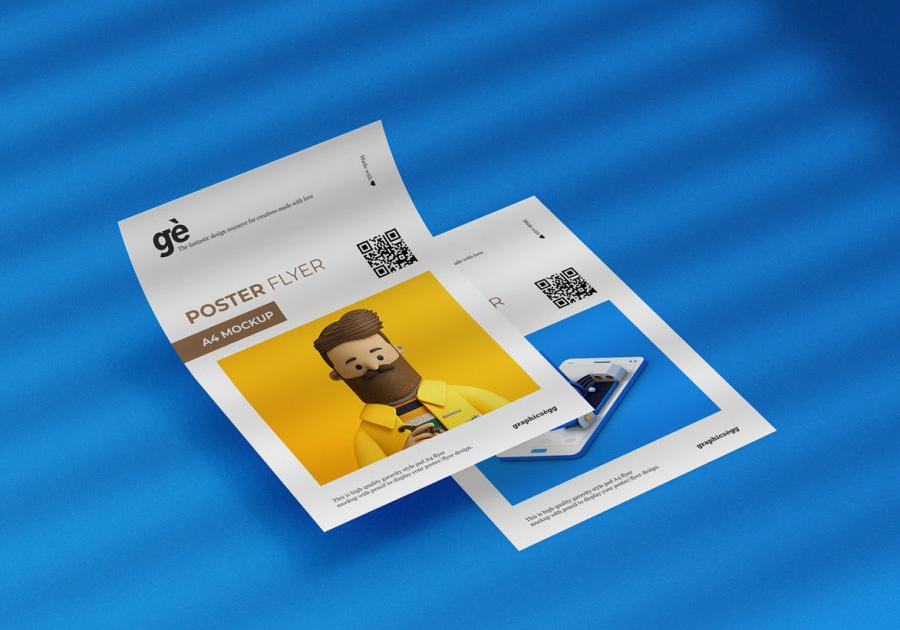 Double A4 Poster Free Mockup