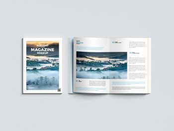 Elegant Top View Magazine Free Mockup