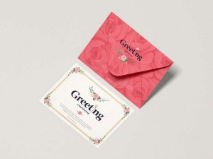 Envelope With Greeting Card Free (PSD) Mockup