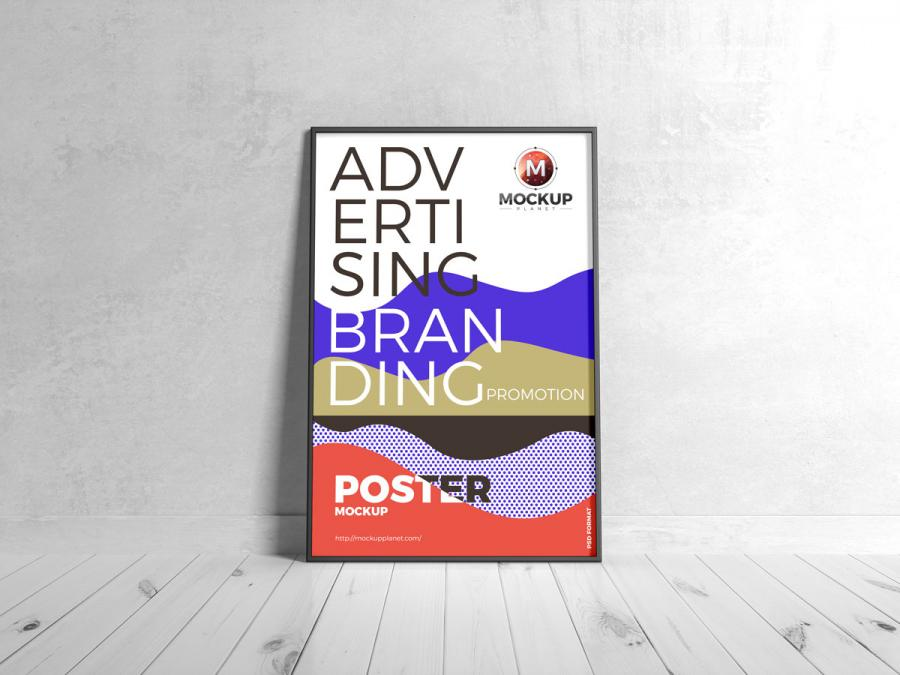 Free Branding Black Framed Poster Mockup
