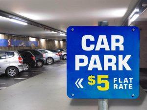 Free Car Parking Signage Mockup