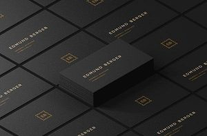 Free Dark Isometric Business Cards Mockup