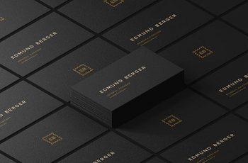 Free Dark Isometric Business Cards Mockup