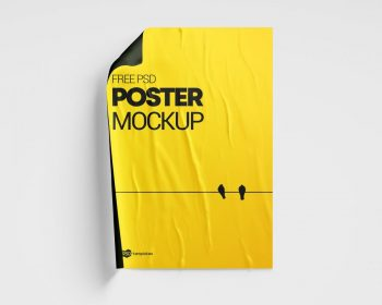 Free Glued Paper Poster Mockup